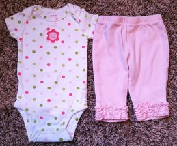 Girl's Size 3 M 0-3 Months 2 Piece Carter's Polka Dot Floral Top & Pink Leggings - $10.00