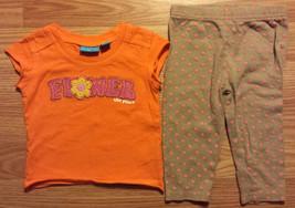 Girl's Size 9 M 6-9 Months 2P Orange Children's Place Flower Top, Carter's Pants - $13.00
