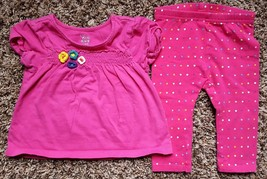 Girl's Size 12 M 9-12 Months 2 Piece Place Pink Floral Top & Green Dog Legggings - $17.00