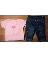 Girl's Size 12 M 2P Pink Carter's Heart Top & Denim Heart Ankle Jegging ... - $9.00