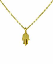 Small Gold Hamsa Hand Pendant Necklace, Tiny Hand of Fatima Necklace, Mi... - $14.65