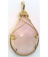 Rose Quartz Gold Wire Wrap Pendant 11 - $44.00