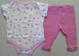 Girl's Sz 0-3 M Months 2 Piece Carter's Outfit Floral Designed Top & Pink Pants - $16.90