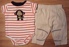 Boy's Size 3-6 M Months Two Pc Orange/ Cream Gorilla Carter's Top & Lt Tan Pants - $9.15