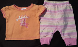 Girl's Size 3 M 0-3 Months 2 Pc Orange Glitter Adidas Top, Cherokee Striped Pant - $10.10