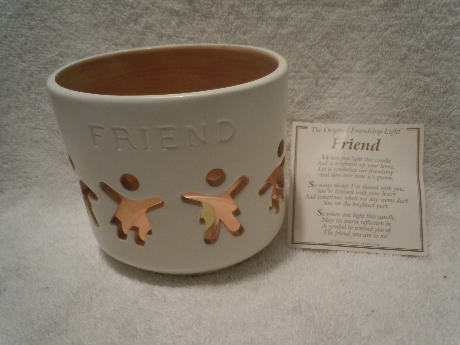 Primary image for Friendship Light Ceramic Candle Holder New