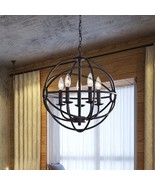 Orb Light Fixture Globe Hanging Iron Chandelier... - $178.97