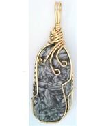 Austrian Pinolith Magnesite Gold Wire Wrap Pendant 7 - $44.00