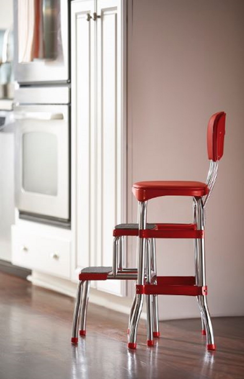 Red Counter Stool Vintage Retro Kitchen Chair Bar Seat Pull Out Steps Climb
