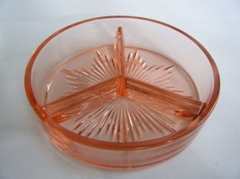 Pink Depression Glass Divided Dish Candy Nuts R... - $12.82