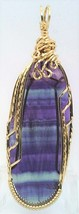 Rainbow Fluorite Gold Wire Wrap Pendant 12 - $33.99