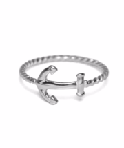 Sterling Silver Anchor Ring, 925 Sterling Silver Ring, Sideways Anchor Ring - $14.65