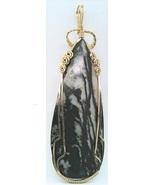 Zebra Marble Gold Wire Wrap Pendant 14 - $44.00