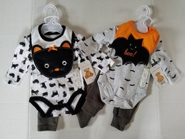 Bonbebe Baby Halloween Cat or Bat Infants 3 Piece Outfit Set Various Siz... - $13.99