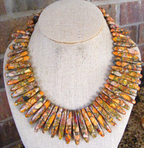 "BRIGHT ORANGE SEA SEDIMENT JASPER LARVKITE STICK DESIGNED 18"" BEADED NEC... - $36.62"