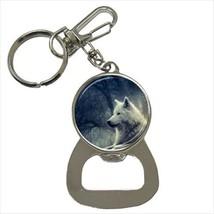 White Wolf Bottle Opener Keychain - $6.74