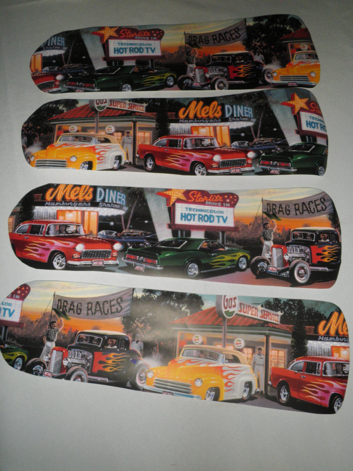 Custom 50 S Diner Classic Car Drag Races Vintage Gas Station Ceiling Fan