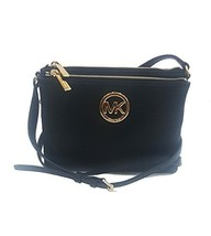 Fashion Michael Kors Fulton Crossbody Bag Leather Black 35T6GFTC7L womens - $157.46