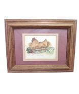 Farm Fresh Small Chicken Hen Signed Framed Lithograph Lillian Evans Cali... - $42.56