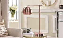 "22"" Metal Polished Copper Finish Table Lamp w Metal Dome Shade Desk Lamp Design"