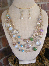 CRYSTAL FACETED AMBER BLUE OPAL GREEN MULTISTRAND MATTE GOLD CHAIN NECKL... - $16.92