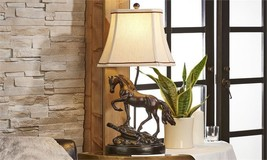 24.5 Horse on Base Design Table Lamp - Equestrian, Western Country Design