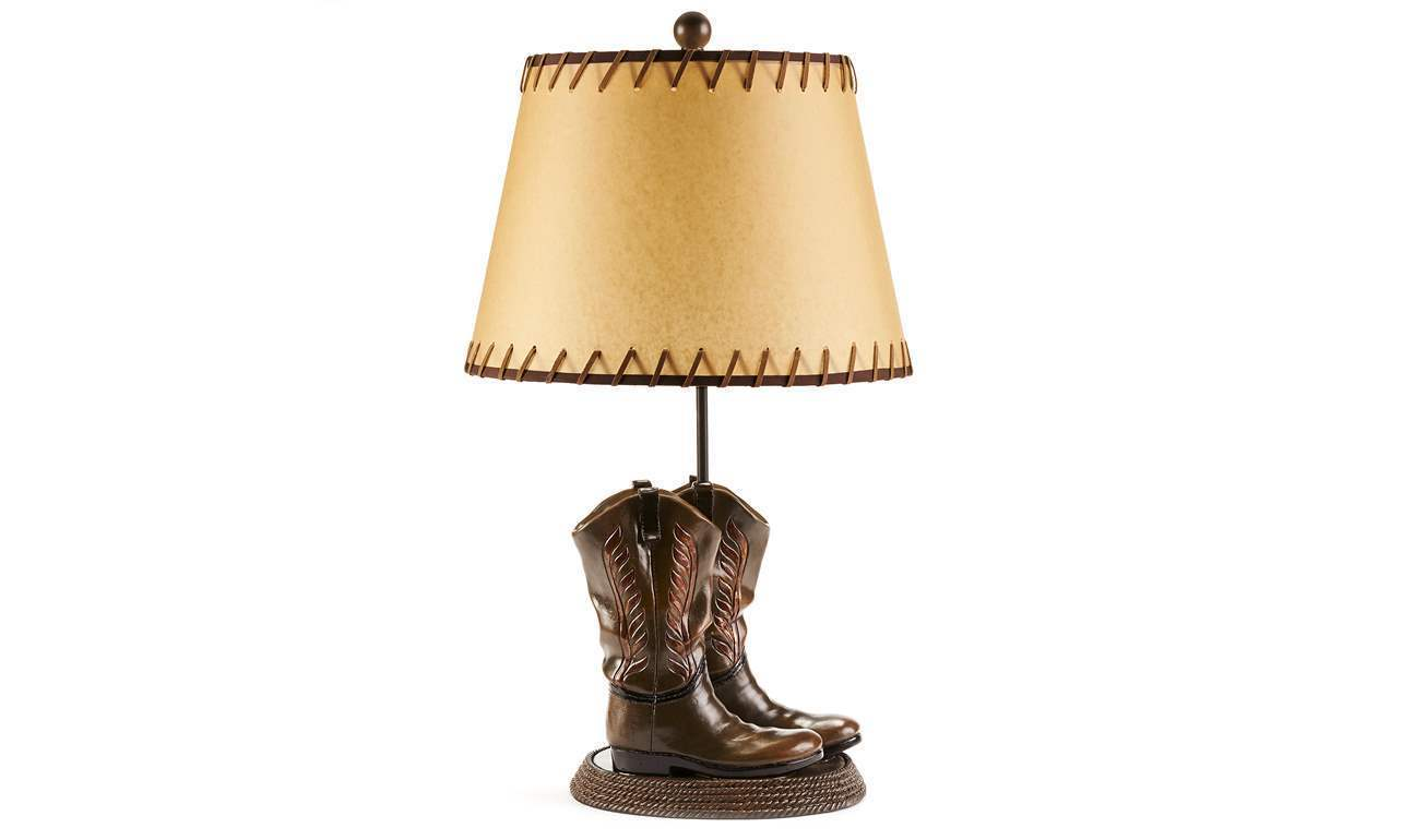 "Set of 2 Lamps 26"" Pr Cowboy Boots on Rope Wrapped Base & Western Stitched Shade"