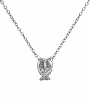 Silver Owl Necklace, Sterling Silver Owl Pendant Necklace - $16.00