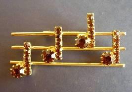 Rhinestone Music Note Staff Pin Brooch Vintage Goldtone - $4.95