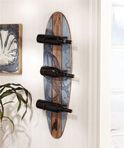 "40"" MDF Surfboard Nautical Design Wine Rack Holds 3 Wine Bottles Wall Decor"