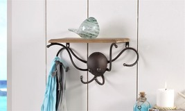 "15.5"" Metal & Fir Wood Octopus Design Shelf & Wall Hook Wall Decor"