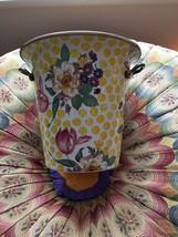 Mackenzie Childs Buttercup Enamel Designer Wine Cooler Gold Handles Pink... - $2.356,47 MXN