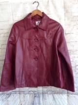 WORTHINGTON Genuine Lambskin Red Jacket Long Sleeve Button Up SOFT Large - $49.49