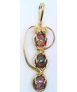 Lab Opal Gold Wire Wrap Pendant 39 - $30.00