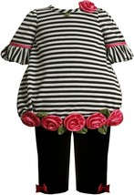 Bonnie Jean Baby Girl 3M-24M Stripe Rosette Border Bubble Knit Dress/Legging Set