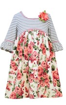 Little Girl 2T-6X Rose Pink/Multi Stripe Floral Bell Sleeve Empire Waist Dress