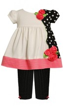 Baby Girl 3M-24M Solid And Polka Dot Colorblock Dress Legging Set, Bonnie Jean image 1