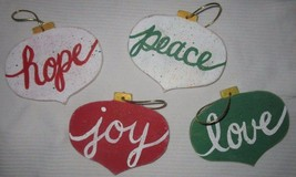 Set of 4 Handmade Ornaments Love Joy Hope Peace Rustic Primitive Made In USA