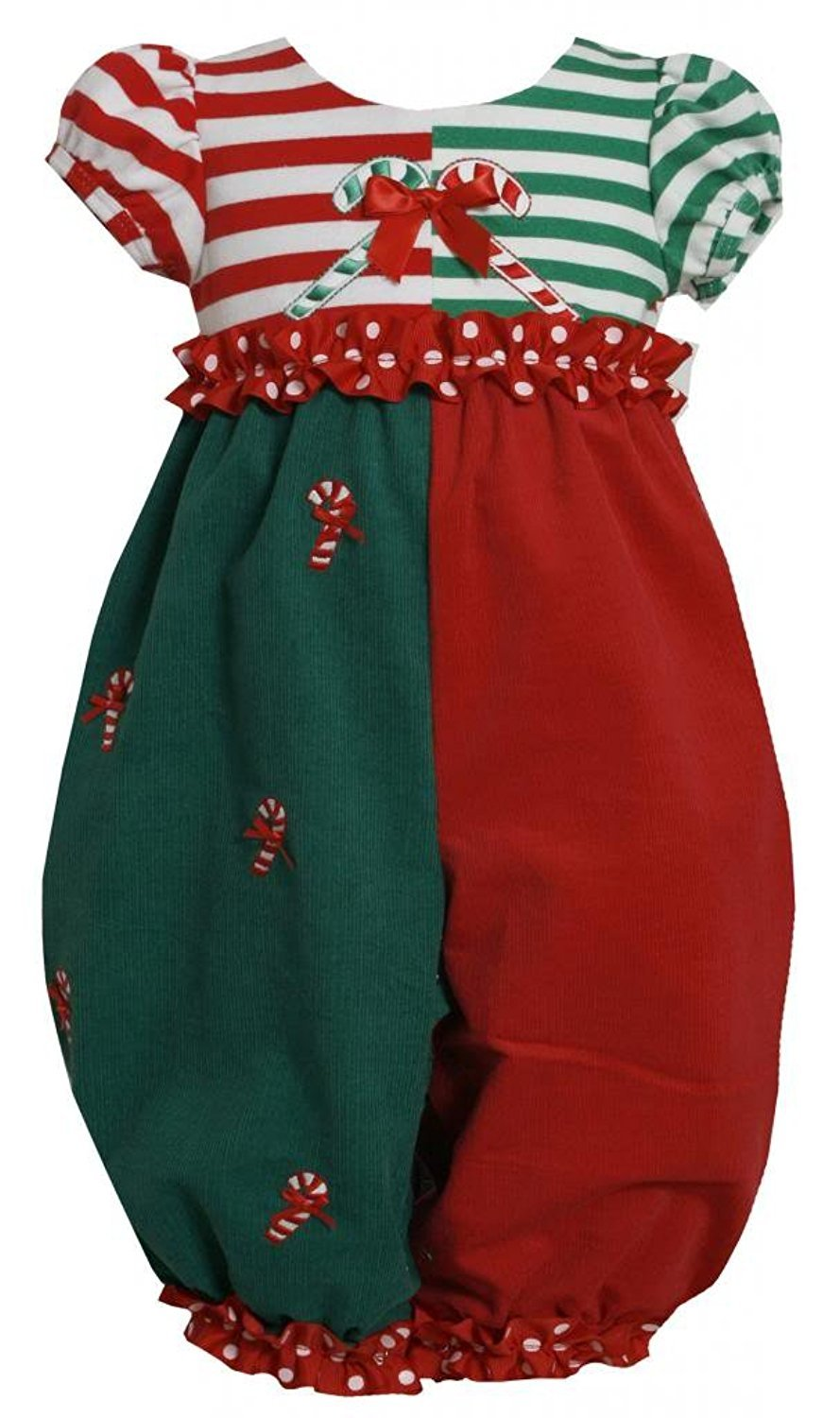 Baby Girl 3M-24M Red Green Colorblock Candy Cane Applique Romper, Bonnie Jean