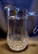 "Cristal d'Arques Longchamp Crystal Pitcher 9"" Plus Two Matching Water Glasses Be - $29.99"