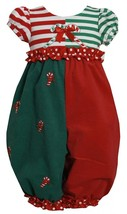 Little Girl 2T-6X Red Green Colorblock Candy Cane Applique Romper, Bonnie Jean