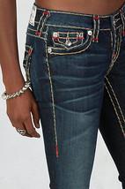 New Womens True Religion Brand Jeans Dark Blue 26 NWT Super T Skinny Flap White image 3