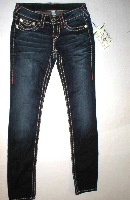 New Womens True Religion Brand Jeans Dark Blue 26 NWT Super T Skinny Flap White image 6