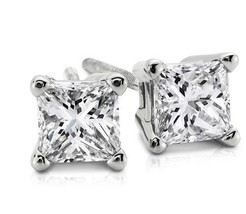 1.00CT Princess Cut Genuine F/SI1 Diamond 14K Solid White Gold Stud Earr... - $1,155.02