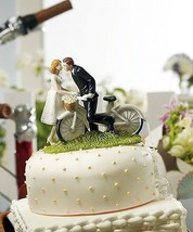 Kiss Above Bicycle Couple Romantic Wedding Cake Topper CUSTOMIZATION Bi... - $45.04