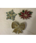 "Vintage Avon ""All That Glitters"" Beaded Christmas Pins - 1988 - £7.67 GBP"