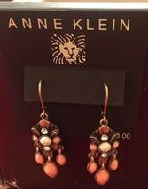 Anne Klein rose gold tone Pink Stones drop earrings - $6.92