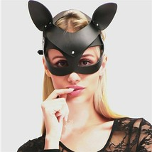 Sexy Head Leather Half Face Eyes Cat Mask Costume Halloween Cosplay Part... - $14.39