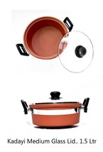 earthenware hot case dinner cooking serving clay bowl organic product glass lid - $39.60