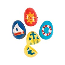"Plastic Nautical Easter Eggs 2 1/2"" Assorted Styles (12 Per Package) - $6.64+"